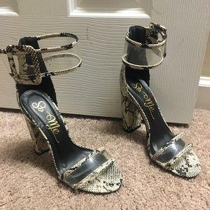 So Me Shoes - So Me Python Block Heels